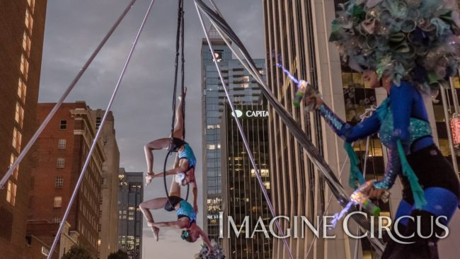 Elements Show, Water, Katie & Liz, Partner Lyra, Aerial Hoop Duo, SPARKcon, Imagine Circus, Photo by Slater Mapp