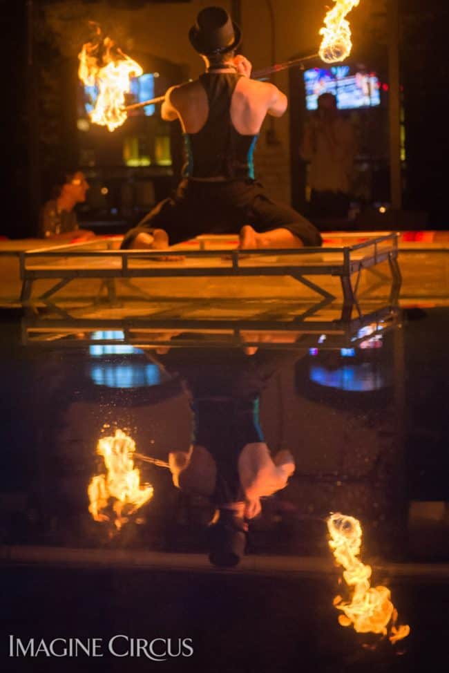 Gio, Fire Staff, Imagine Circus, Mulino, Photo by Slater Mapp