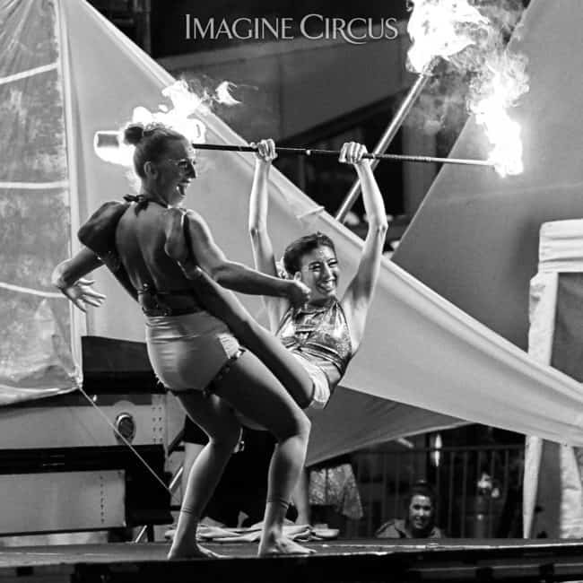 Katie & Kaci, Fire Acro Duo, SPARKcon, Imagine Circus, Photo by Tom Barta