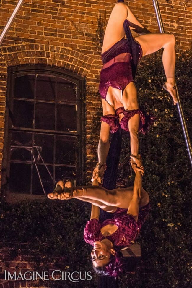 Kaci & Liz, Partner Aerial Silks Duo, Imagine Circus, Mulino, Photo by Slater Mapp