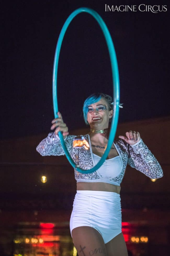 Kaylan, Fire Hoop, Imagine Circus, Mulino, Photo by Slater Mapp