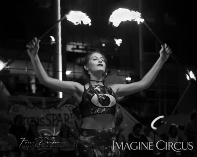 Natali, Fire Double Staff, SPARKcon, Imagine Circus, Photo by Fon Denton, Image That Photography