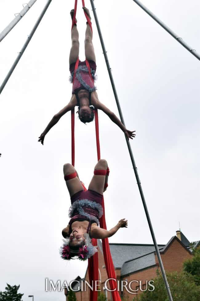 Kaci & Liz Bliss, Partner Aerial Silks Duo, Mum Fest, Imagine Circus, Photographer Charlie Hall