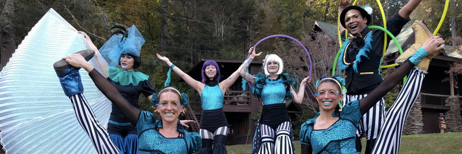 Lake Eden Arts Festival, LEAF Parade, Festival Performers, Mindy, Katie, Steph, Kaylan, Kaci, Ben, Imagine Circus, Black Mountain, NC