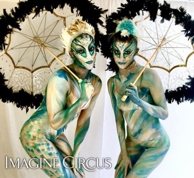 Body paint Models, Parasols, Performers, Katie & Kaci, Imagine Circus