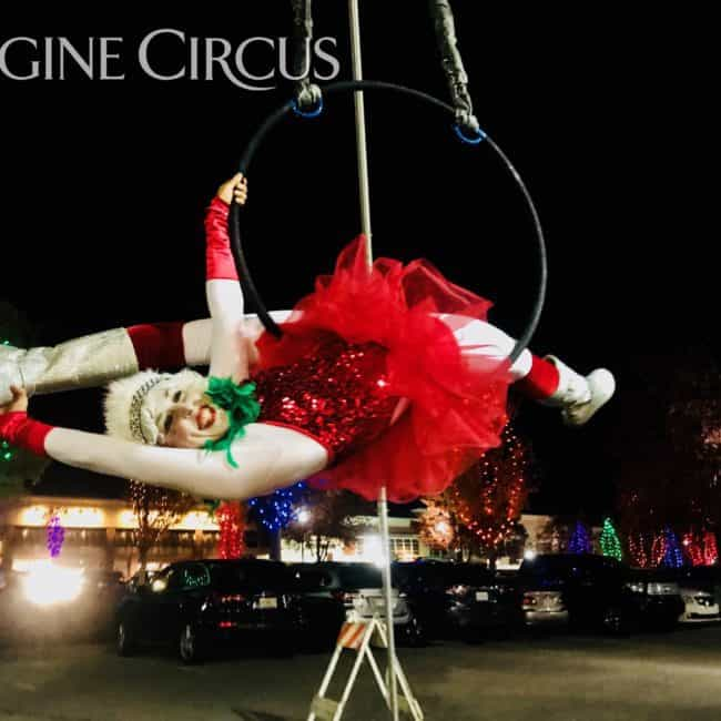 Aerial Hoop, Aerial Dancer, Winter Holiday, Cameron Village, Performer, Liz, Imagine Circus