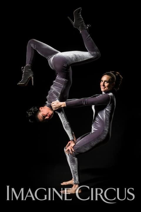 Acrobats, Partner Acrobatics, Upscale Event, Imagine Circus, Performers, Kaci, Katie, Photo by Brooke Meyer