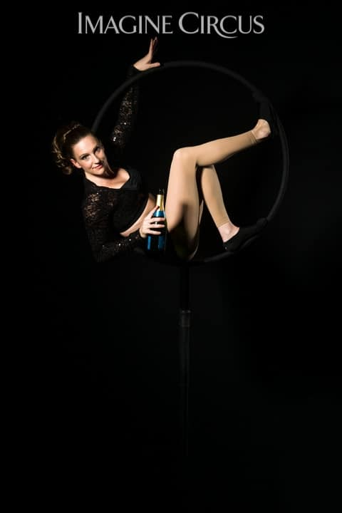 Aerial Bartender, Aerial Hoop, Lyra, Aerialist, Upscale Event, Imagine Circus, Performer, Katie, Photo by Brooke Meyer