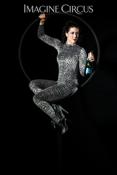Aerial Bartender, Aerial Hoop, Lyra, Aerialist, Upscale Event, Imagine Circus, Performer, Liz, Photo by Brooke Meyer