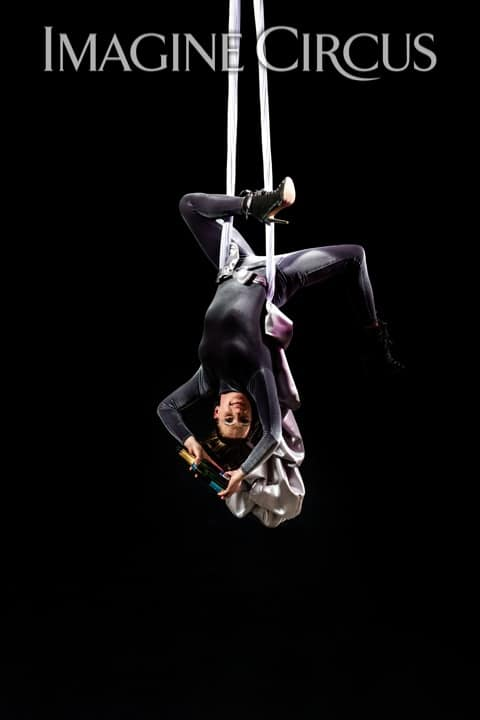 Aerial Silks, Aerial Bartender, Upscale Event, Imagine Circus, Performer, Katie, Photo by Brooke Meyer