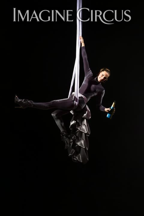 Aerial Silks, Aerial Bartender, Aerial Hammock, Aerialist, Upscale Event, Imagine Circus, Performer, Katie, Photo by Brooke Meyer