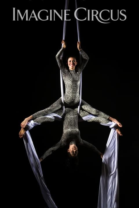 Partner Aerial Silks, Aerialists, Upscale Entertainment, Imagine Circus, Performers, Kaci, Liz, Photo by Brooke Meyer