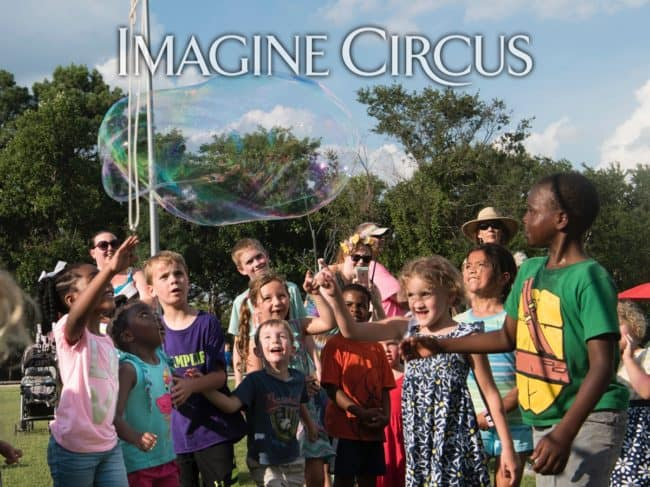 Katie, Bubble Artist, Imagine Circus, NCMA, Photo by Slater Mapp