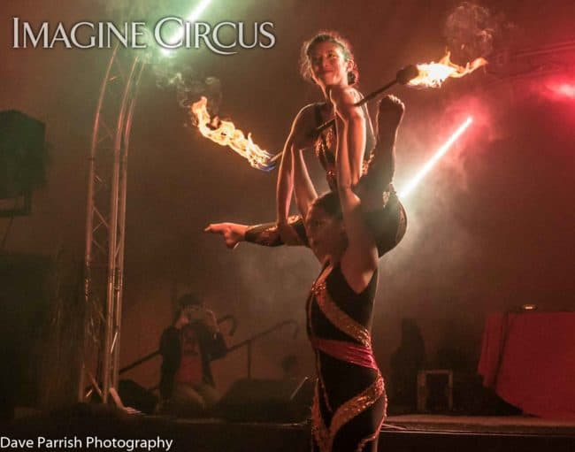 Katie & Kaci, Fire Acro Duo, Floyd Fest, Imagine Circus, Photo by Dave Parrish