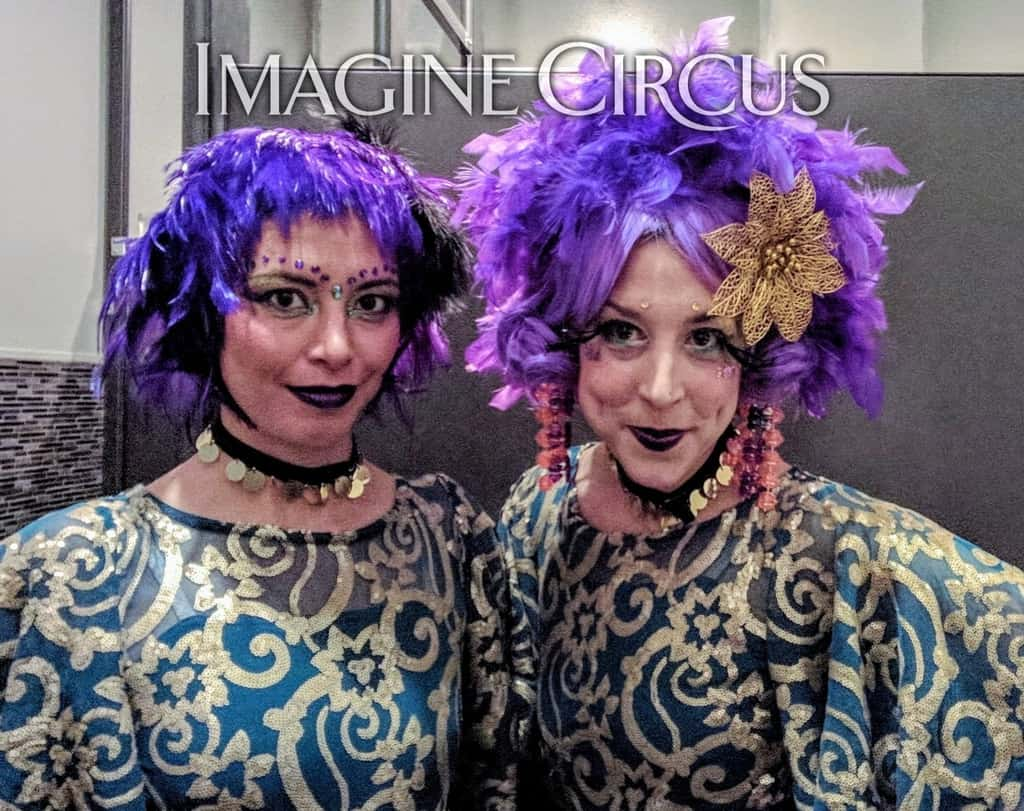 Acrobats, Mardi Gras Themed Event, Morehead City, NC, Imagine Circus, Performers, Kaci, Liz