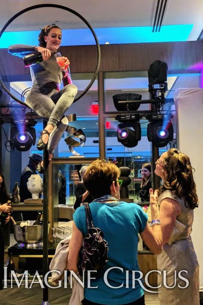 Aerial Bartender, Aerial Hoop, Lyra, Grand Opening, Chapel Hill, NC, Imagine Circus, Performer, Katie