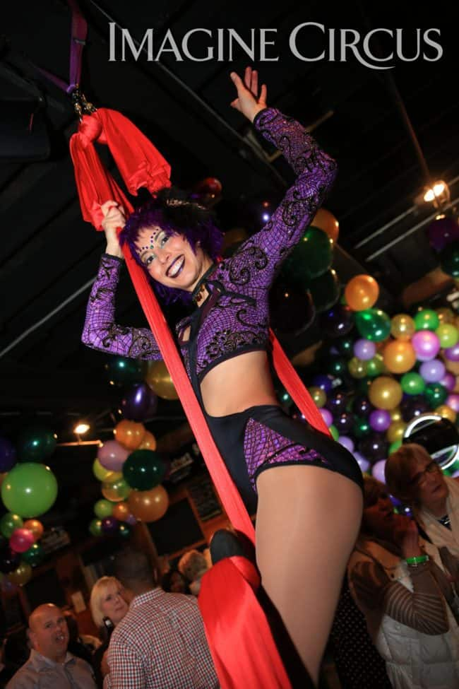 Aerial Silks, Aerial Dancer, Mardi Gras, Imagine Circus, Performer, Liz, Kaci, Photo by Ted Lewis