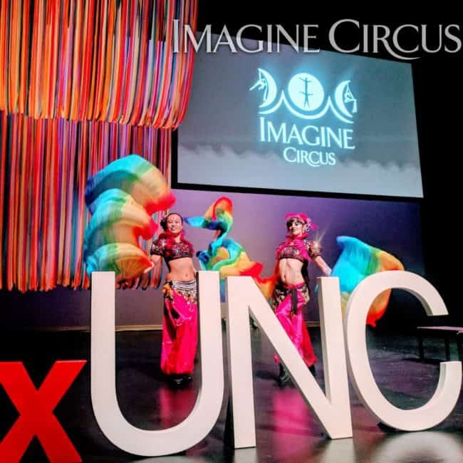 Circus Performers, Flow Fans, Belly Dancers, TEDx UNC, Memorial Hall, Chapel Hill, Imagine Circus, Performers, Anita, Kat
