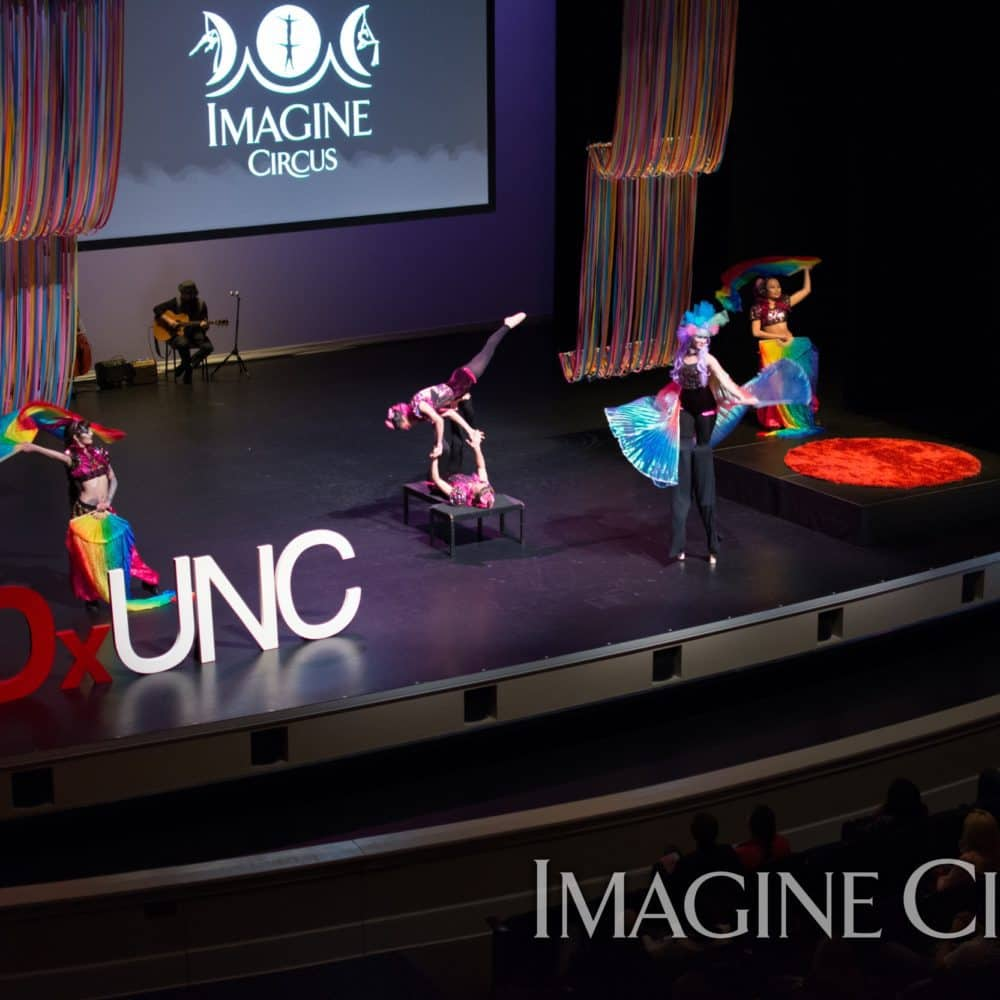 Circus Stage Show, Stilt Walker, Acrobats, Memorial Hall, Photo by TEDxUNC, Imagine Circus, Performers, Mindy, Kaci, Katie, Kat, Anita
