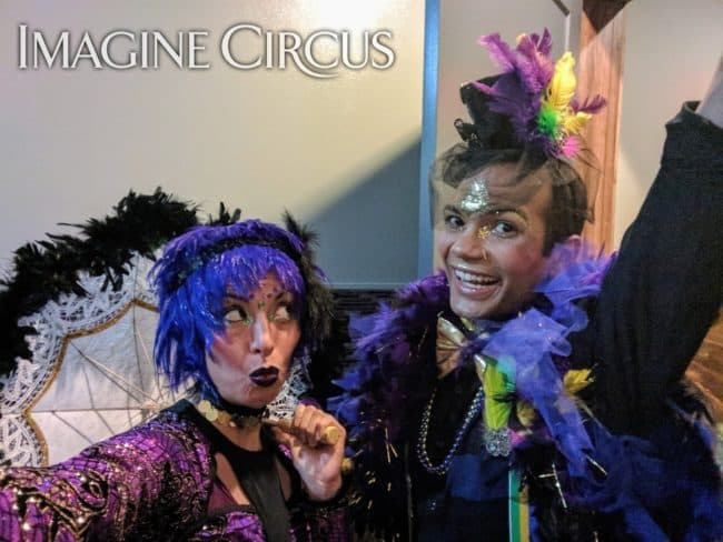 Mardi Gras themed event, Imagine Circus, Performers, Kaci, Ben