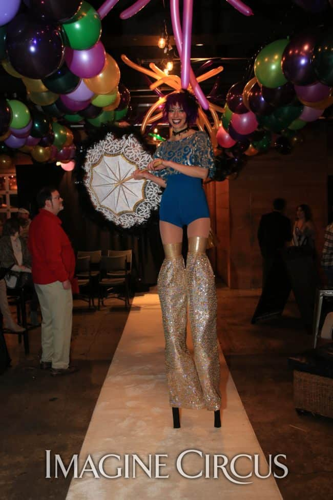 Stilt Walkers, Mardi Gras, Morehead City, NC Imagine Circus, Performer, Kaci, Photo by Ted Lewis