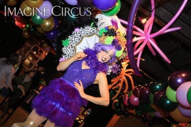 Stilt Walkers, Mardi Gras, Morehead City, NC Imagine Circus, Performer, Liz, Photo by Ted Lewis