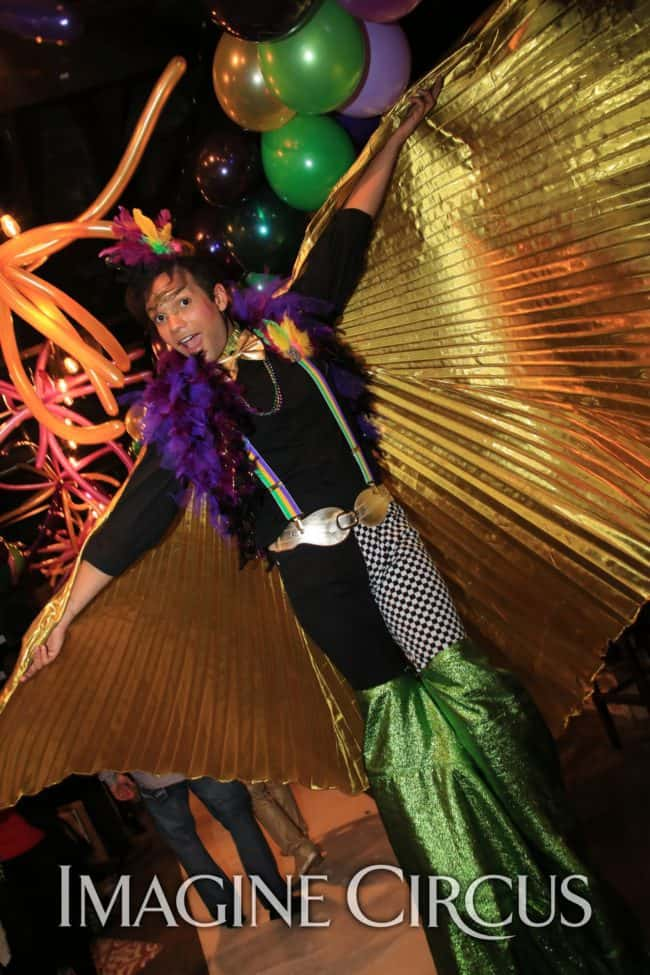 Stilt Walkers, Mardi Gras, Morehead City, NC Imagine Circus, Performer, Ben, Photo by Ted Lewis
