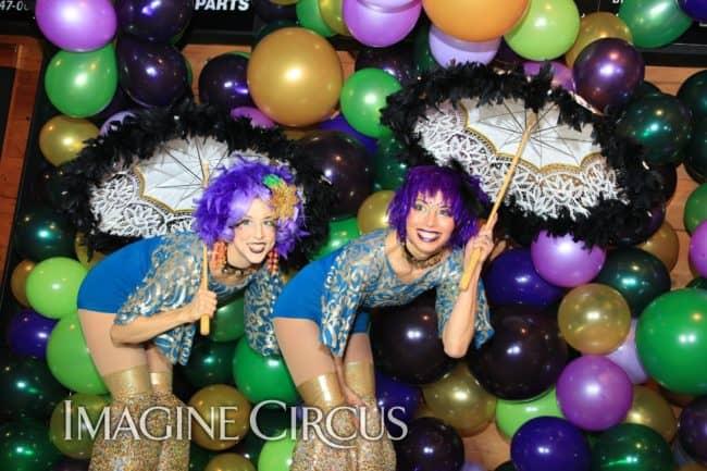 Stilt Walkers, Mardi Gras, Morehead City, NC Imagine Circus, Performers, Liz, Kaci, Photo by Ted Lewis
