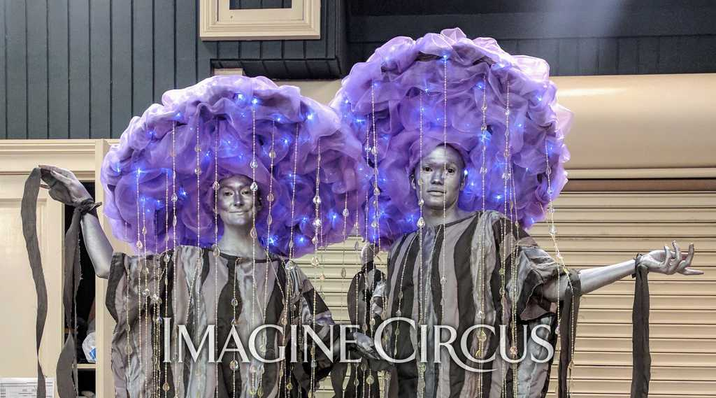 Stilt Walkers, Purple Rain Costume, Upscale Entertainment, Performers, Kaylan, Ben, Imagine Circus
