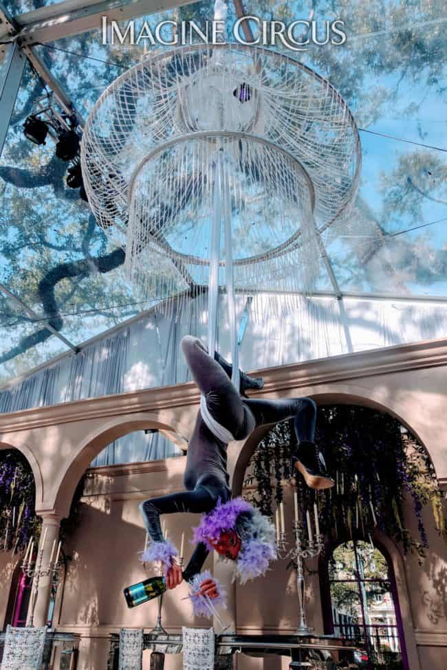 Aerial Bartender, Aerial Chandelier, Upscale Entertainment, Performer, Kaci, Imagine Circus