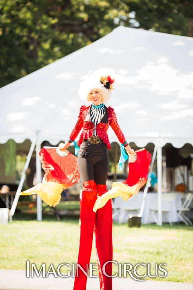 Stilt Walker, Fan Dancer, Performer, Liz, IMagine Circus, Photo by Becca's Pic