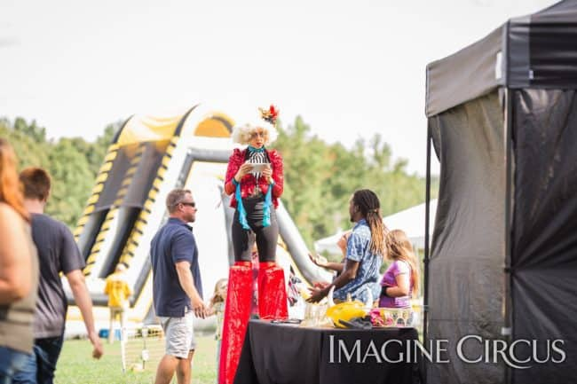 Stilt Walker, Company Picnic, Performer, Liz, Imagine Circus, Photo by Becca's Pics
