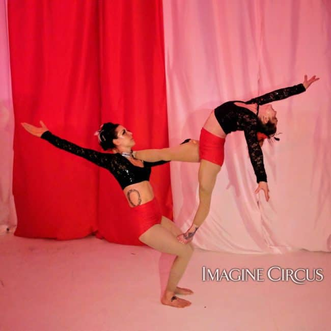 Acrobats, Partner Acrobatics, Upscale Entertainment, Wilmington, NC, Imagine Circus, Performers, Brittany, Liz