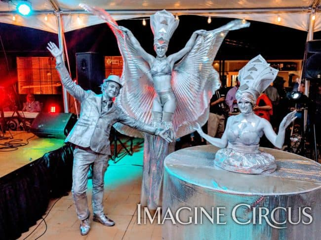Strolling Table, Stilt Walker, Mirror, Silver Statue, Classy Art, Imagine Circus, Performers, Azul, Dustin, Adrenaline
