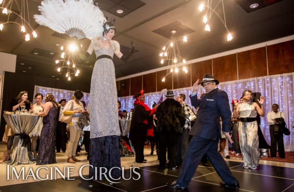 Stilt Walker, Gatsby Gala, Upscale Entertainment, Imagine Circus, Performer, Kaci, Photo by Cityview Magazine