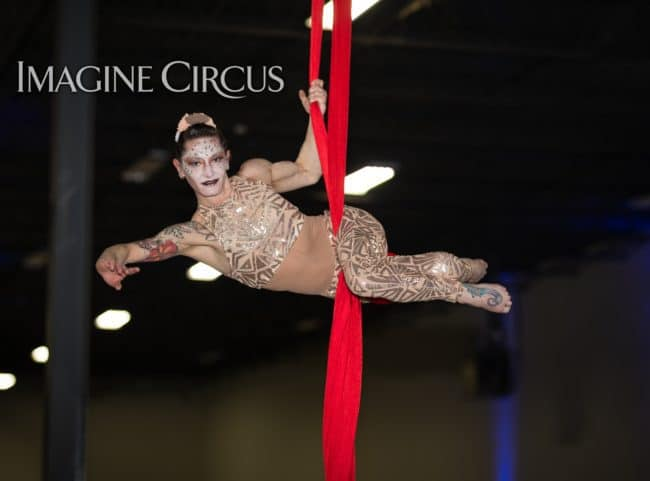 Aerial Silks, Aerial Dancer, Aerialist, Upscale Event, Charlotte, NC, Grand Opening, Imagine Circus, Performer, Brittany, Photo by Rick Belden