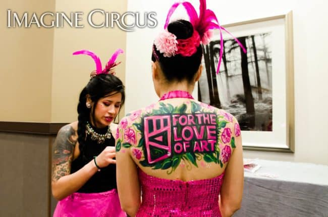 Live Body Painter, Body Art Model, Upscale Entertainment, VAE Gala, Fundraiser, Imagine Circus, Performer, Alexa, Anita, Rachel Berber Photography