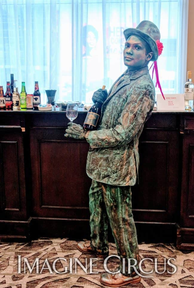 Living Statue Bartender, Patina Mannequin, VAE Gala, Imagine Circus, Performer, Ben