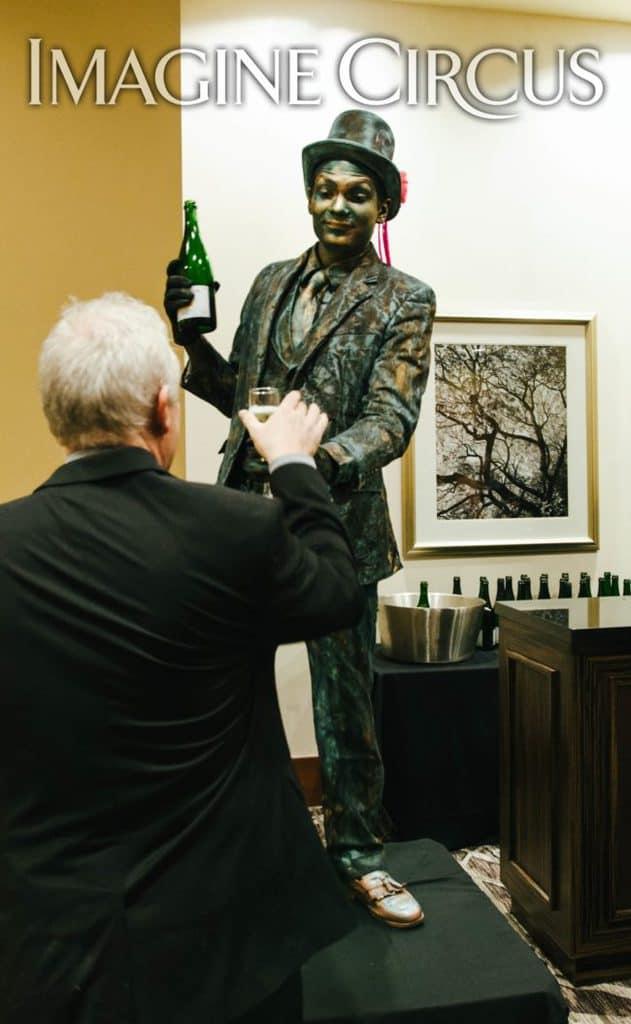 Living Statue Bartender, Patina Mannequin, VAE Gala, Imagine Circus, Performer, Ben, Rachel Berber Photography