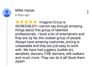 Imagine Circus Google Review Millie Harper