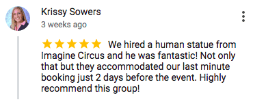Imagine Circus Google Review Krissy Sowers