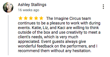 Imagine Circus Google Review Ashley Stallings