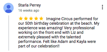 Imagine Circus Google Review Starla Perrey