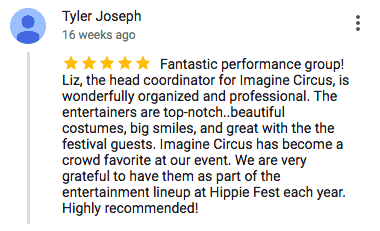 Imagine Circus Google Review Tyler Joseph