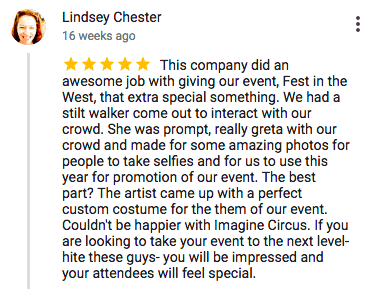 Imagine Circus Google Review Lindsey Chester