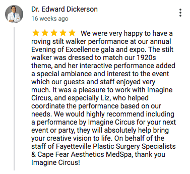 Imagine Circus Google Review Dr. Edward Dickerson