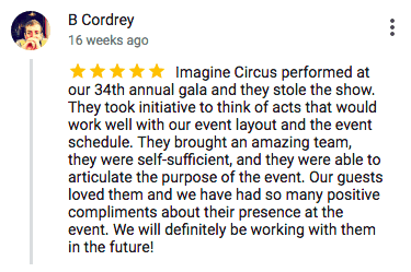Imagine Circus Google Review B Cordrey