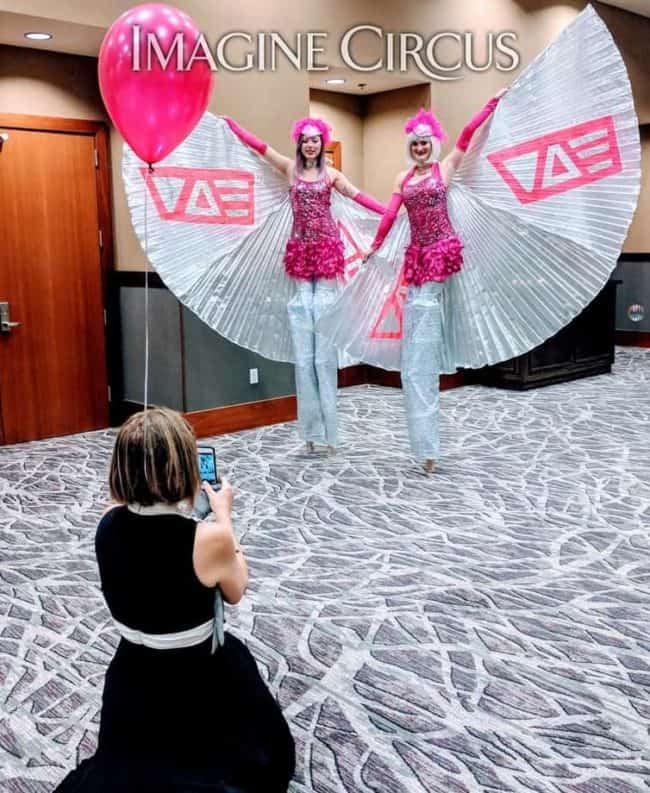 Stilt Walkers, Winged Dancers, VAE Gala, Raleigh, NC, Imagine Circus, Steph, Azul
