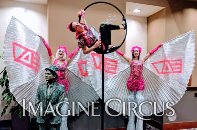 Stilt Walking, Living Statue, Aerialist, Aerial Hoop, Winged Dancer, VAE Gala, Raleigh, NC, Imagine Circus, Performers, Ben, Azul, Katie, Steph