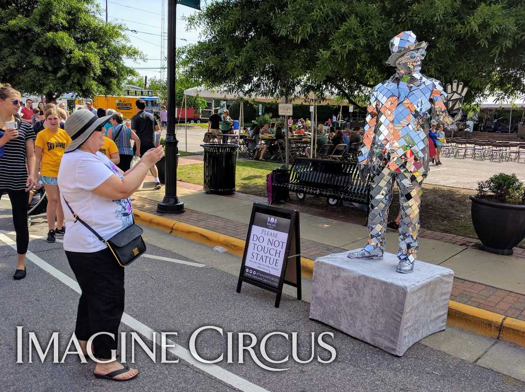 Mirror Man, Living Statue, Street Fair, Apex Peakfest, Imagine Circus, Performer, Ben